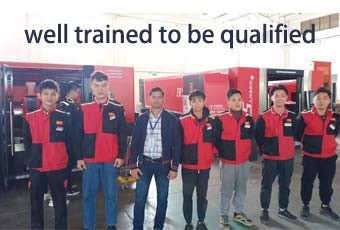 Dealers' engineer on-site Baisheng   company training to be qualified to look after overseas users.
