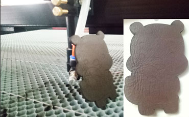 Co2 laser cutting leather PU 3mm fast speed